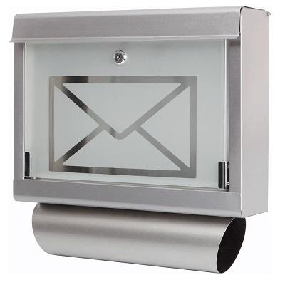 edelstahl design briefkasten stand postkasten zeitung zeitungsrolle wand glas 1 ebay. Black Bedroom Furniture Sets. Home Design Ideas